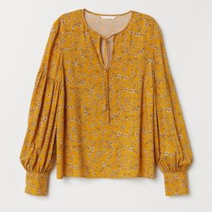 H&M Yellow Patterned Floral Blouse